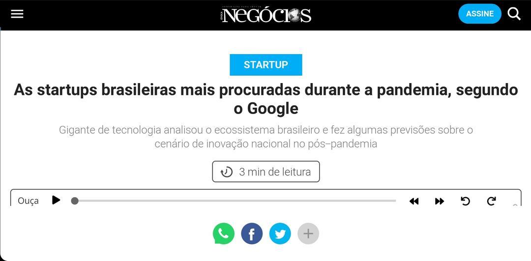 Matéria da Revista Época Negócios aborda as startups destaca as startups mais procuradas nesta crise do covi-1